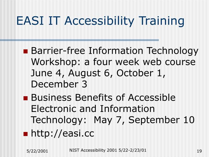 EASI IT Accessibility Training