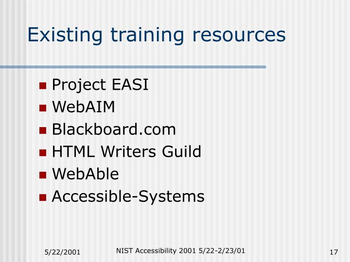 Existing training resources