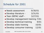 schedule for 2001