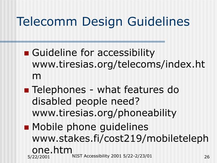 Telecomm Design Guidelines