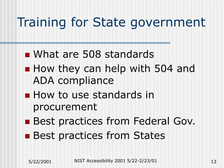 Training for State government