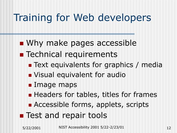 Training for Web developers