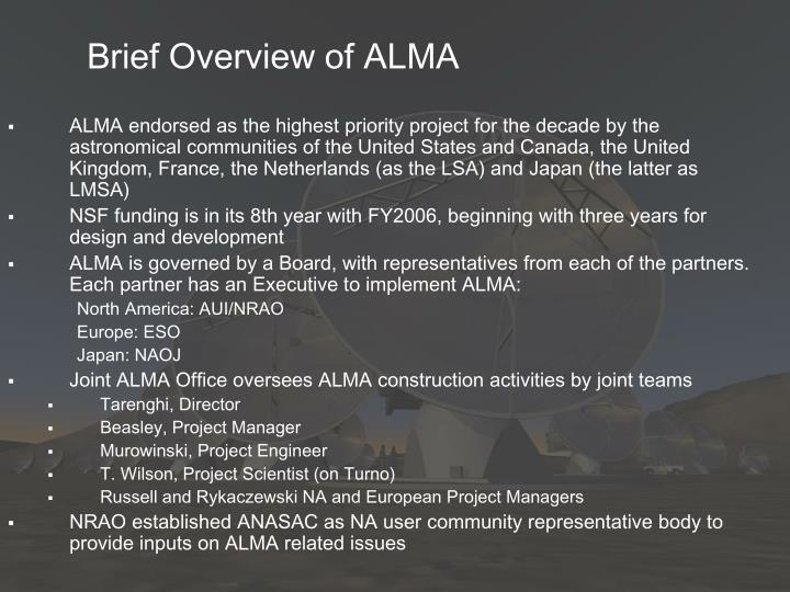 Brief overview of alma