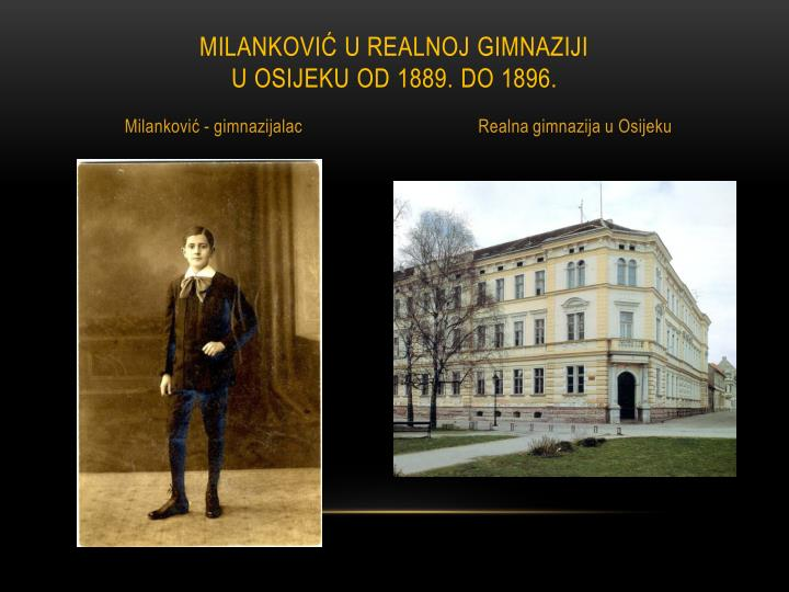 Milanković u realnoj gimnaziji