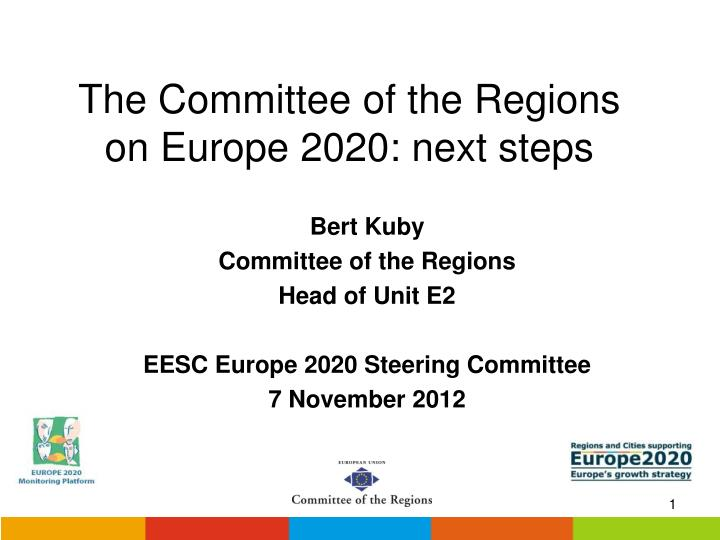 The committee of the regions on europe 2020 next steps