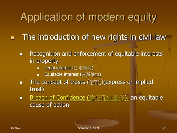 Application of modern equity