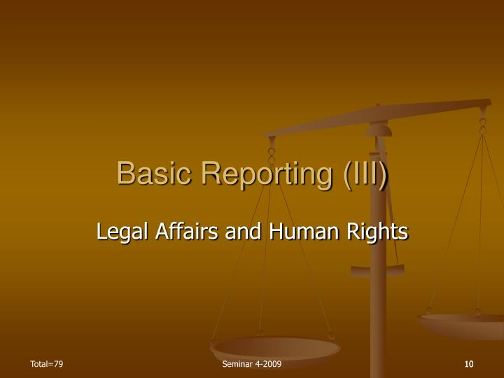 Basic Reporting (III)