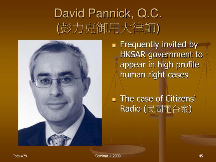 David Pannick, Q.C.