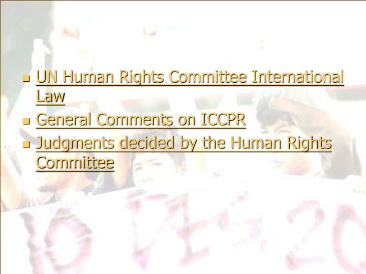 UN Human Rights Committee International Law