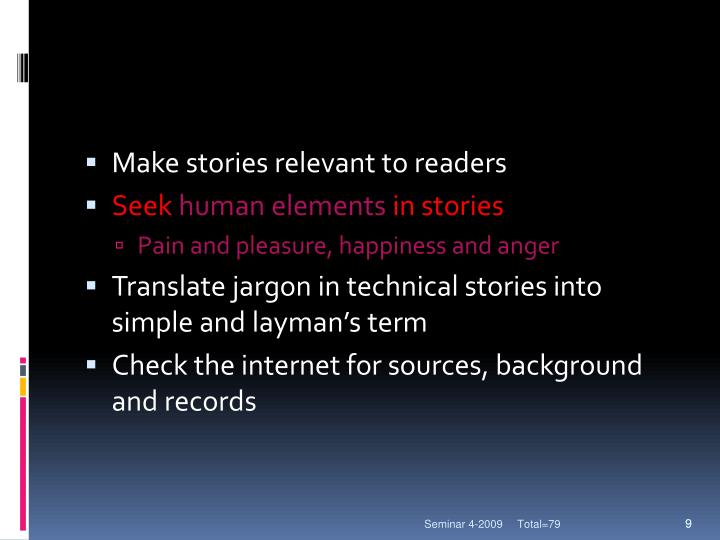 Make stories relevant to readers
