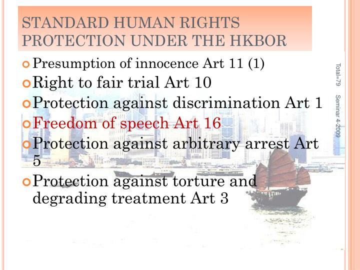 STANDARD HUMAN RIGHTS PROTECTION UNDER THE HKBOR