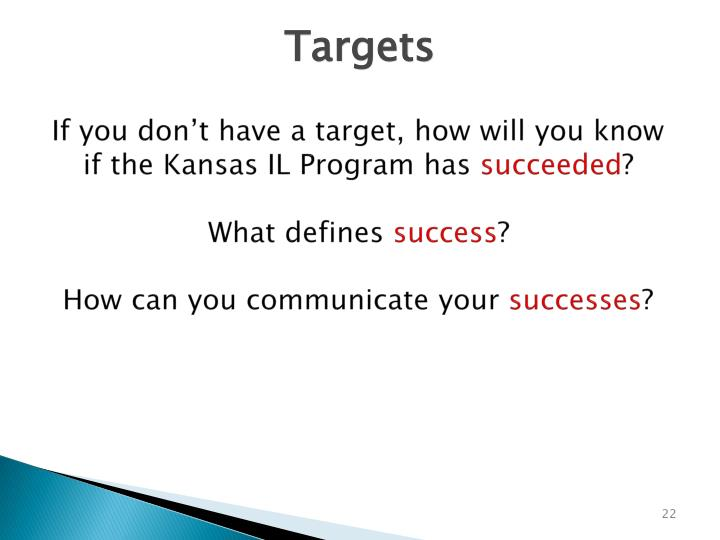 If you don't have a target, how will you know if the Kansas IL Program has