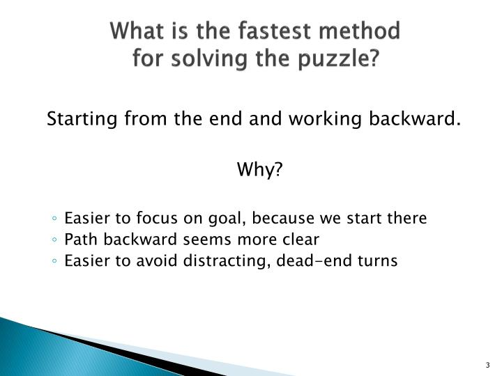 What is the fastest method for solving the puzzle