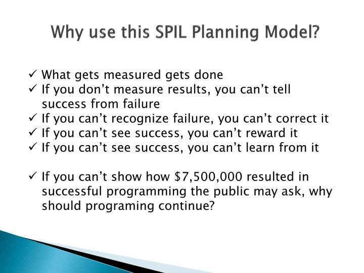Why use this SPIL Planning Model?
