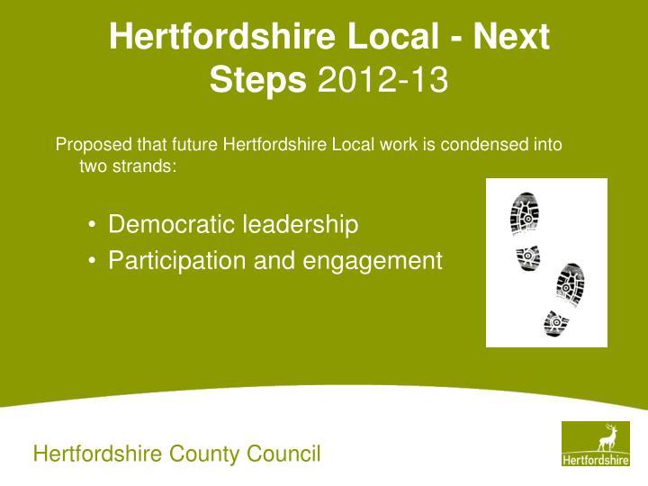 Hertfordshire Local - Next Steps