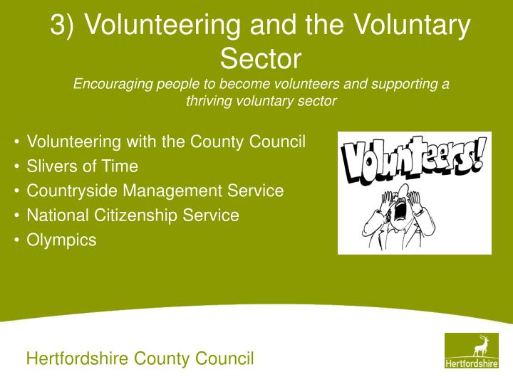 3) Volunteering and the Voluntary Sector