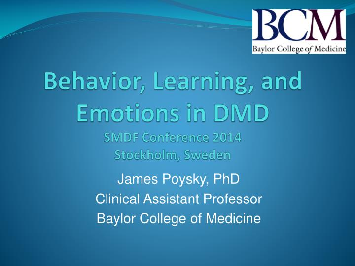 Behavior learning and emotions in dmd smdf conference 2014 stockholm sweden