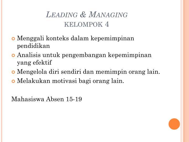Leading & Managing