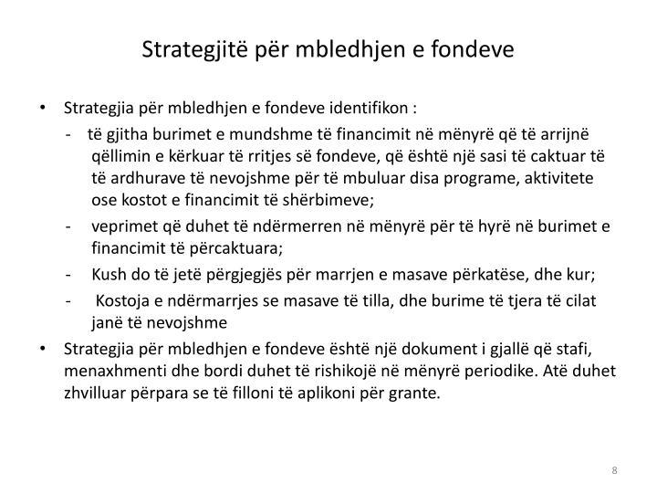 Strategjitë për mbledhjen e fondeve