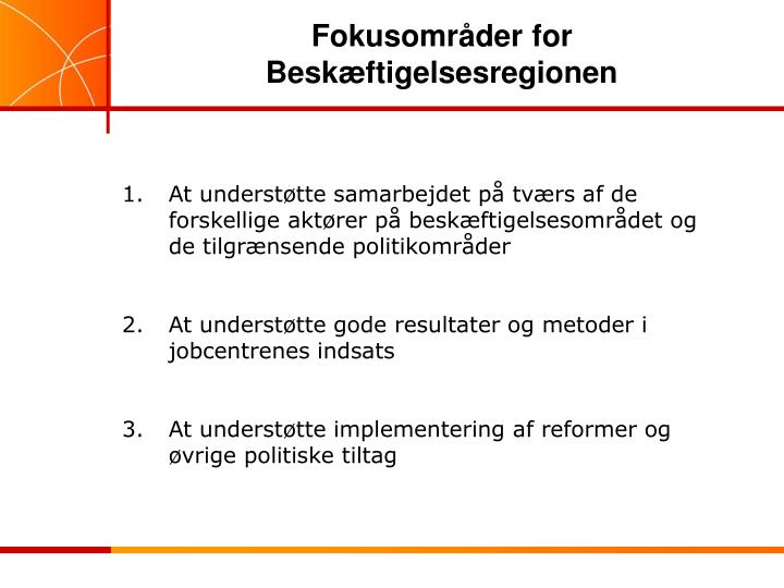 Fokusområder for Beskæftigelsesregionen