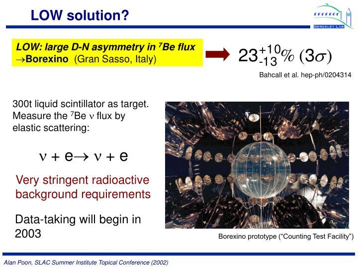 LOW: large D-N asymmetry in