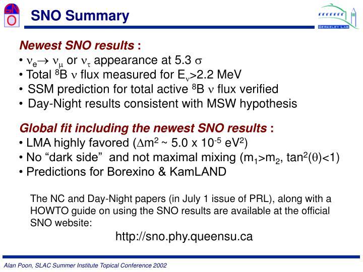 SNO Summary