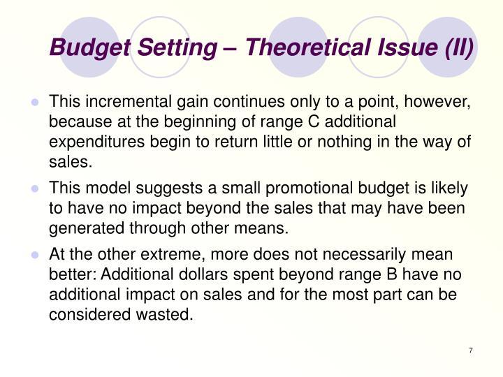 Budget Setting – Theoretical Issue (II)