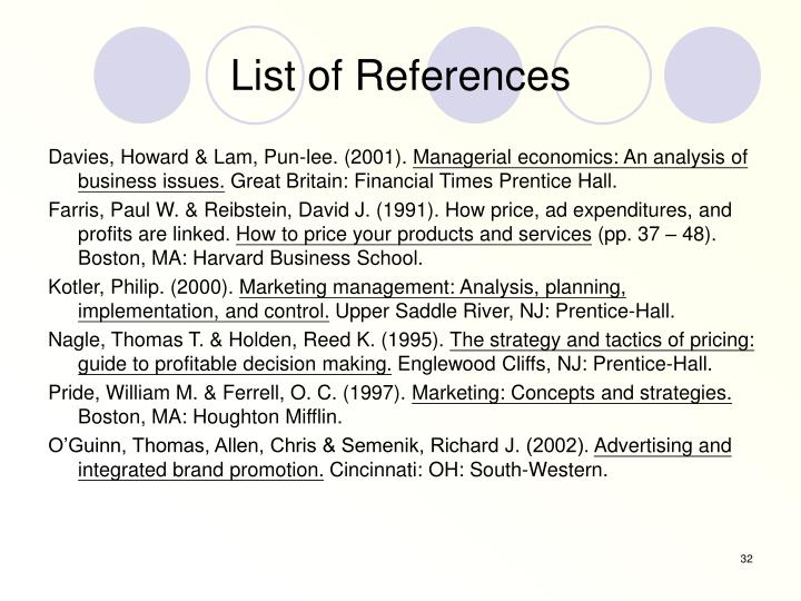 List of References