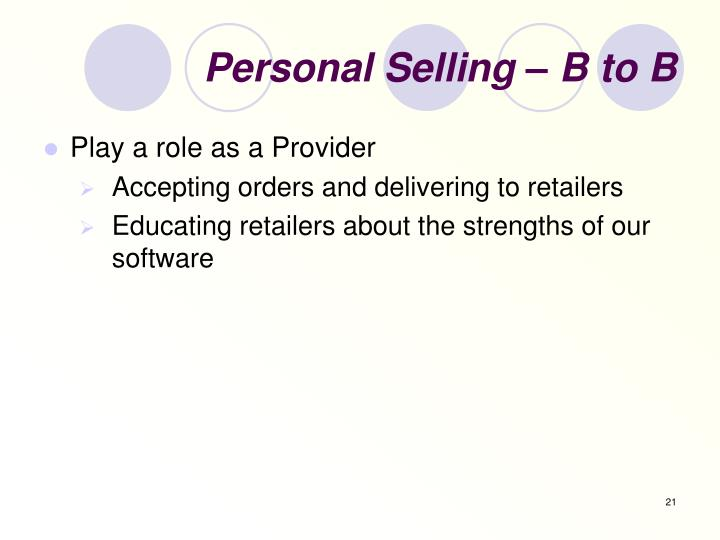 Personal Selling – B to B