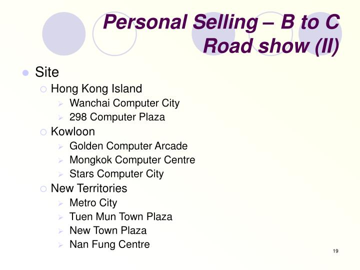 Personal Selling – B to C
