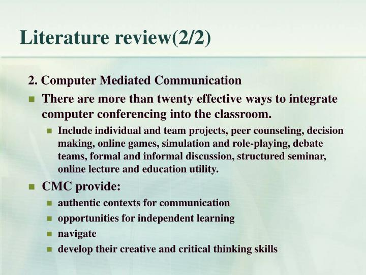 Literature review(2/2)