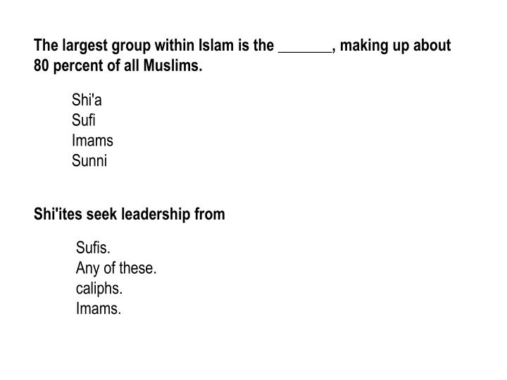 The largest group within Islam is the _______, making up about