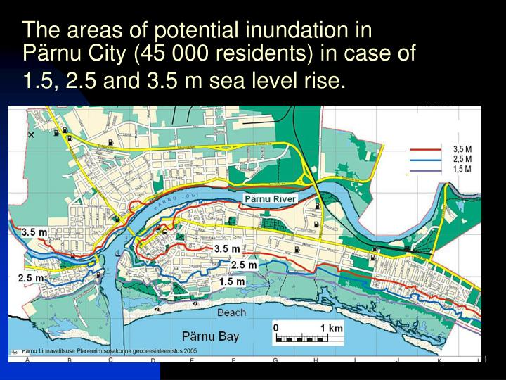 The areas of potential inundation in