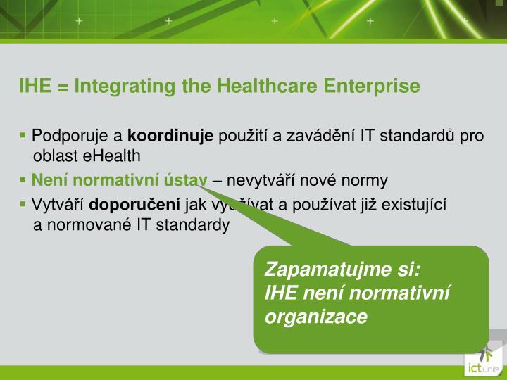 IHE = Integrating the Healthcare Enterprise