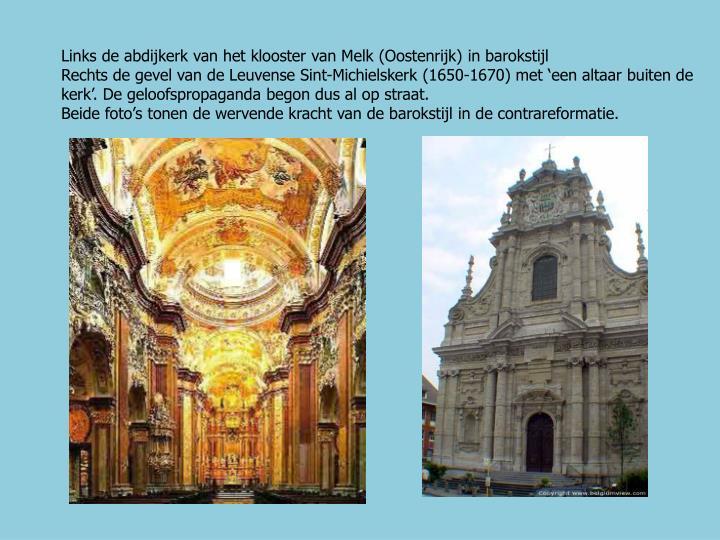 Links de abdijkerk van het klooster van Melk (Oostenrijk) in barokstijl