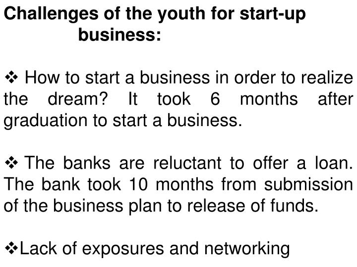 Challenges of the youth for start-up