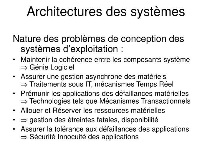 Architectures des systèmes
