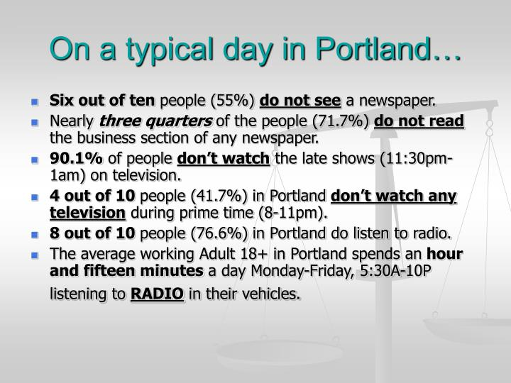 On a typical day in Portland…