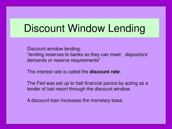 Discount Window Lending