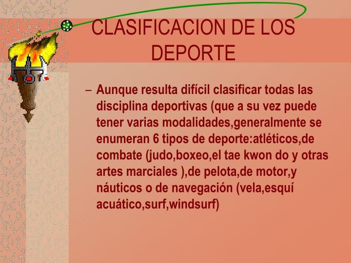 CLASIFICACION DE LOS DEPORTE