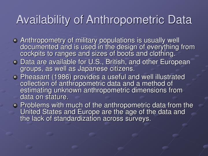 Availability of Anthropometric Data