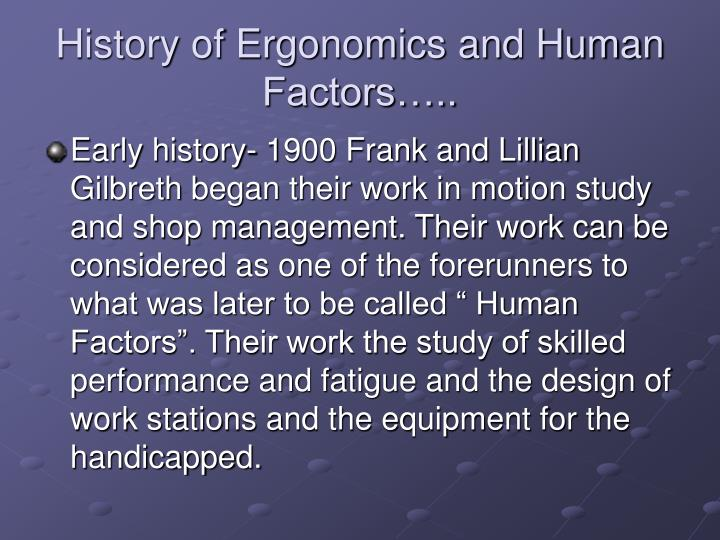 History of Ergonomics and Human Factors…..