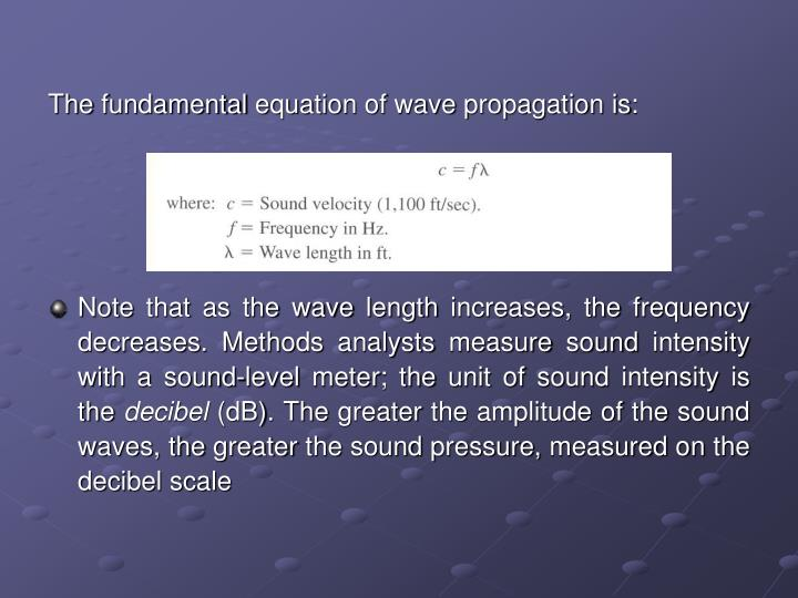 The fundamental equation of wave propagation is: