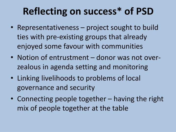 Reflecting on success* of PSD