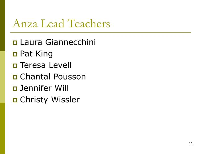 Anza Lead Teachers