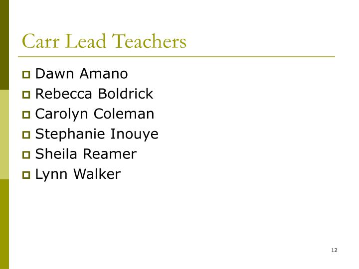 Carr Lead Teachers