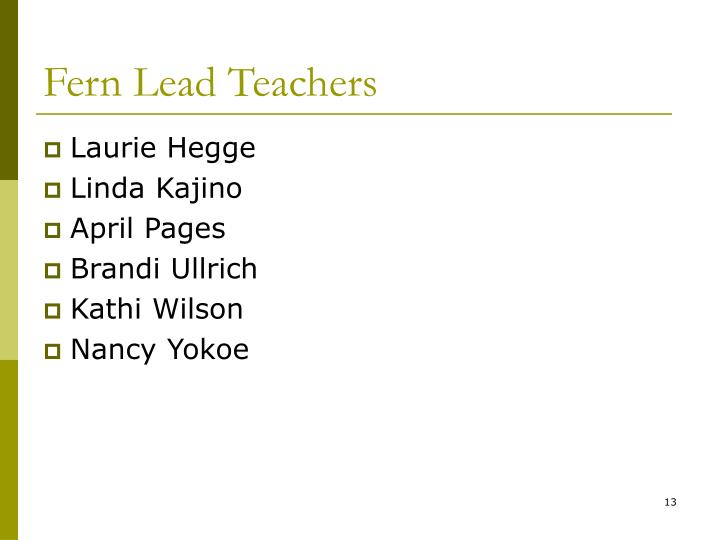Fern Lead Teachers