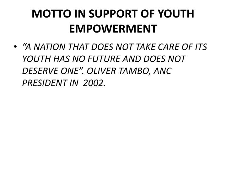 Motto in support of youth empowerment