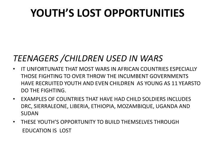 Youth s lost opportunities
