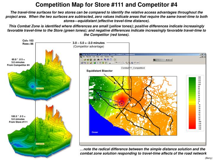 Competition Map for Store #111 and Competitor #4